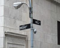 Wall street. Sign in New York near New York Stock Exchange background Royalty Free Stock Images