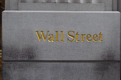 Wall Street. The word wall street embossed to a buildings in wall street, new york city Royalty Free Stock Photos