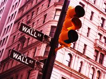 Wall Street. Street signs at the entrance to the world's financial capital