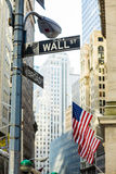 Wall Street assina dentro a cidade de Manhattan, New York Fotografia de Stock Royalty Free