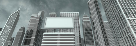 Wall street billboard. Business district and billboard - you can insert your text/logo Royalty Free Stock Photo