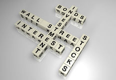 Wall street block puzzle 1. Wall street/investing word puzzle pieces Stock Images