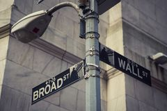 Wall street and Broad street sign in New York City. USA royalty free stock photo