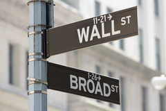 Wall Street and Broad Street corner sign near Stock Exchange in New York Royalty Free Stock Photography