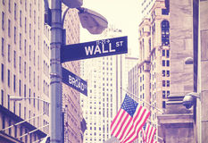 Wall Street and Broad Street signs, New York City, USA. Royalty Free Stock Photos