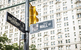 Wall street and broadway cross in New York city. street indication boards Stock Photos