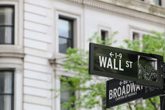Wall Street - Broadway. New York City, USA - May 19, 2014: Road sign at the intersection of Wall Street / Broadway Royalty Free Stock Photos
