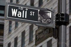 Wall Street and Broadway sign near Stock Exchange, New York Royalty Free Stock Photos