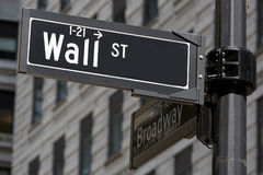 Wall Street and Broadway sign near Stock Exchange in New York Stock Photos