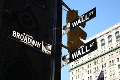 Wall Street and Broadway Signs Stock Photography