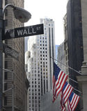 Wall street and broadway street signs. At Manhattan Royalty Free Stock Photo