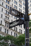 Wall Street and Broadway Street Signs Stock Photos