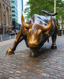 Wall Street Bull. The Charging Bull in Lower Manhattan Wall Street, in Manhattan, NYC stock images