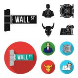 Wall Street, a businessman, a bank vault, a gold charging bull. Money and finance set collection icons in black, flat. Style vector symbol stock illustration Stock Photo
