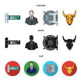 Wall Street, a businessman, a bank vault, a gold charging bull. Money and finance set collection icons in cartoon,black. Flat style vector symbol stock Stock Photography