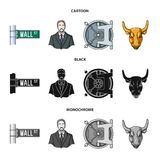 Wall Street, a businessman, a bank vault, a gold charging bull. Money and finance set collection icons in cartoon,black. Monochrome style vector symbol stock Royalty Free Stock Photography