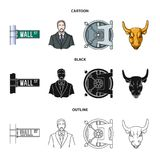 Wall Street, a businessman, a bank vault, a gold charging bull. Money and finance set collection icons in cartoon,black. Outline style vector symbol stock Stock Images