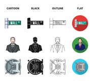 Wall Street, a businessman, a bank vault, a gold charging bull. Money and finance set collection icons in cartoon,black. Outline,flat style vector symbol stock Royalty Free Stock Images