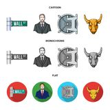 Wall Street, a businessman, a bank vault, a gold charging bull. Money and finance set collection icons in cartoon,flat. Monochrome style vector symbol stock Royalty Free Stock Photos