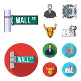 Wall Street, a businessman, a bank vault, a gold charging bull. Money and finance set collection icons in cartoon,flat. Style vector symbol stock illustration Royalty Free Stock Photo