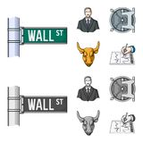 Wall Street, a businessman, a bank vault, a gold charging bull. Money and finance set collection icons in cartoon. Monochrome style vector symbol stock Royalty Free Stock Images