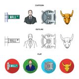 Wall Street, a businessman, a bank vault, a gold charging bull. Money and finance set collection icons in cartoon. Outline,flat style vector symbol stock Royalty Free Stock Photos