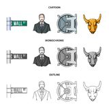Wall Street, a businessman, a bank vault, a gold charging bull. Money and finance set collection icons in cartoon. Outline,monochrome style vector symbol stock Stock Images