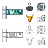 Wall Street, a businessman, a bank vault, a gold charging bull. Money and finance set collection icons in cartoon. Outline style vector symbol stock Royalty Free Stock Photo
