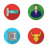 Wall Street, a businessman, a bank vault, a gold charging bull. Money and finance set collection icons in flat style Stock Photo
