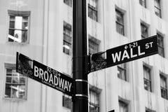 Wall Street, centro financiero de Nueva York Foto de archivo libre de regalías