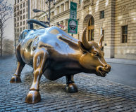 Wall Street Charging Bull Sculpture at Lower Manhattan - New York, USA Stock Photography
