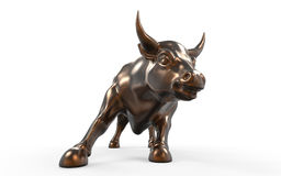 Wall Street Charging Bull Statue. Isolated on White Background. 3d render Royalty Free Stock Image