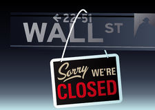 Wall street crash. Abstract vector illustration of wall street with the sign sorry we're closed Royalty Free Stock Photos