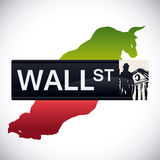 Wall street design,  illustration. Royalty Free Stock Photo