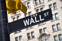 Wall street direction sign, New York Stock Images