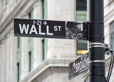 Wall street direction sign Royalty Free Stock Photo