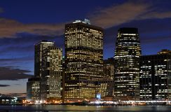 Wall Street District at Night Royalty Free Stock Photography