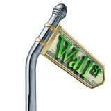 Wall street economy stocks sign. Wall street economy symbol with stocks and stock market down sign stock illustration