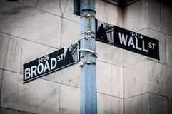 Wall Street en Breed Straatteken Royalty-vrije Stock Afbeeldingen