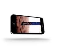 Wall Street en la pantalla del smartphone Fotos de archivo libres de regalías