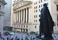 Wall Street en New York Stock Exchange, de Stad van New York, de V.S. Royalty-vrije Stock Afbeeldingen