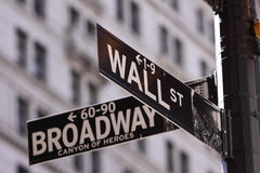 Wall Street et rue principale Photos stock