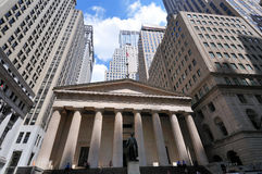 Wall Street  Federal Hall financial district. Wall Street  Federal Hall National Monument near the Stock Exchange financial district Royalty Free Stock Photos