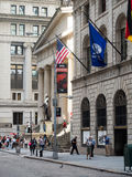 Wall Street and the Federal Hall in New York Stock Photography