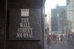 Wall Street Journal podpisuje wewnątrz swój budynek Zdjęcia Royalty Free