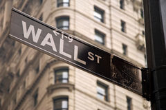 Wall Street kennzeichnen innen New York City Stockbild