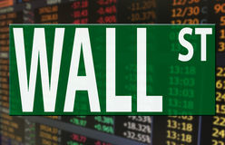 Wall street logo on stock market price index Royalty Free Stock Photo