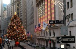 Wall Street in lower Manhattan royalty free stock photo