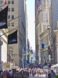 Wall Street in Manhattan. New York.  Wall Street is home to one of the world's great financial centers Stock Photography