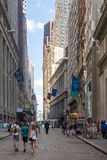 Wall Street at Manhattan's Financial District in New York Stock Image